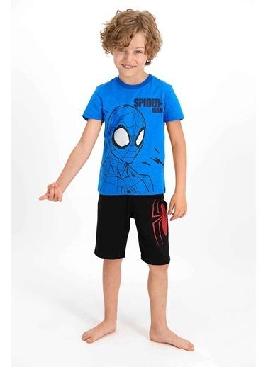Spider-Man Spider Man Lisanslı Cobalt Mavi Erkek Çocuk Bermuda Takım Mavi